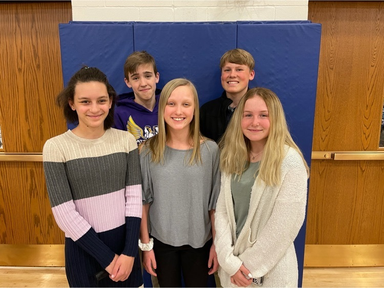Junior High Speech Medalists in Wayne. Zion Baier in Extemp, Gavin Olson in Poetry, Aspen Greve and Brynn Schmidt in Declamation, and Ella Reeves in Public Speaking