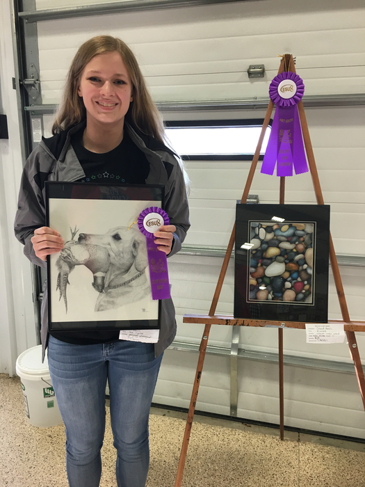 "Congratulations to Kylee McLean for earning top honors at the esu8 Art Show. Best of Show for her colored pencil ""Rocks"" drawing."