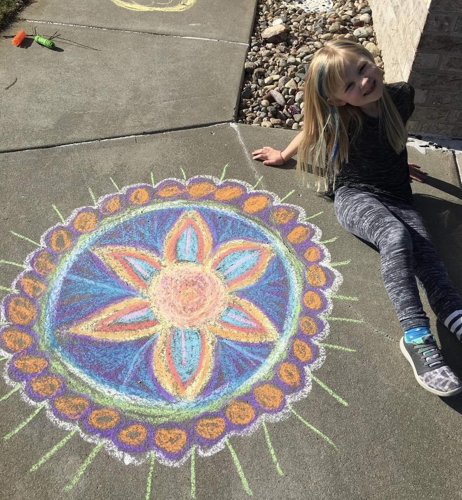Annalee (1st grade) with her Chalk Art design
