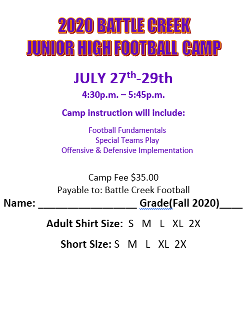Junior Football Camp Form
