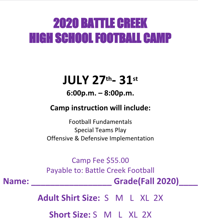 High School Football Camp Form
